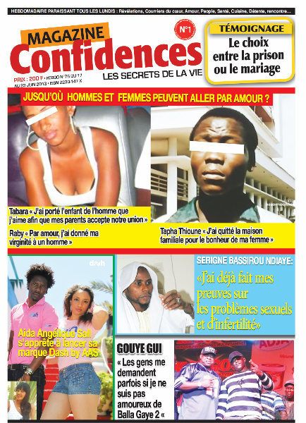 A la Une du Journal Confidences du lundi 17 juin 2013