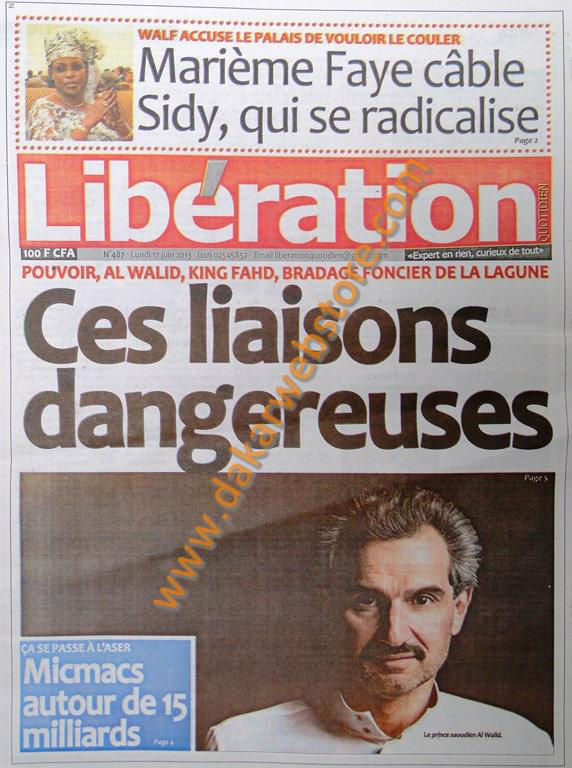A la Une du Journal Libération du lundi 17 juin 2013