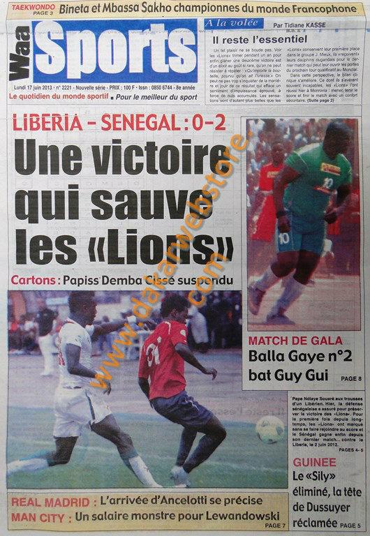 A la Une du Journal Waa Sports du lundi 17 juin 2013