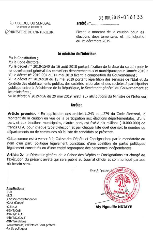 Elections départementales ou municipales: Le montant de la caution fixé à 10 millions F CFA et à verser à...