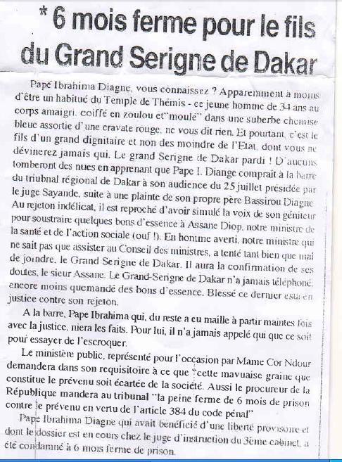Article de presse datant d'août 94: Le Grand Serigne Pape Ibrahima Diagne a été condamné à une peine de six mois pour escroquerie