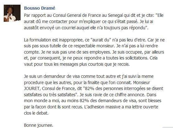 Le Consul général de France à Dakar répond à la résistante sénégalaise Bousso Dramé
