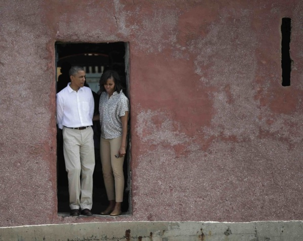 US President Obama and tour guide Coly view area where slaves departed …