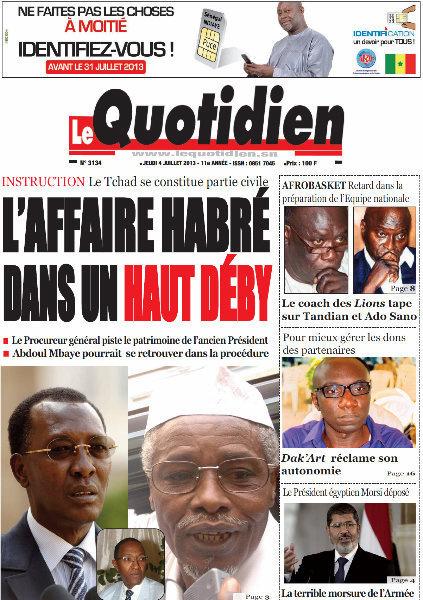 A la Une du Journal Le Quotidien du jeudi 04 juillet 2013