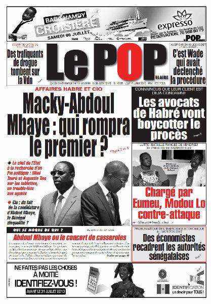 A la Une du Journal Le Populaire du jeudi 04 juillet 2013