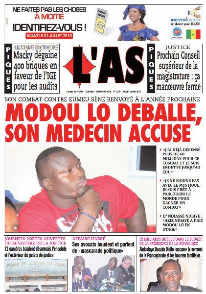 A la Une du Journal L'As du jeudi 04 juillet 2013