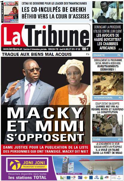 A la Une du Journal La Tribune du jeudi 04 juillet 2013