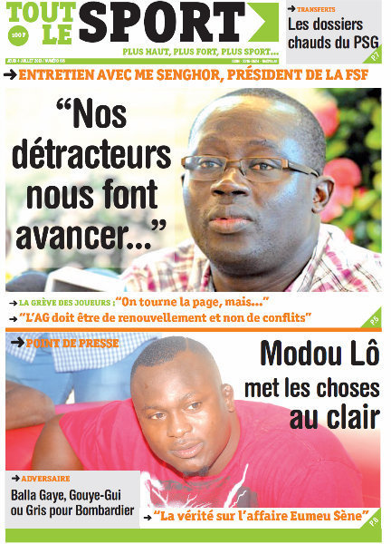 A la Une du Journal Tout Le Sport du jeudi 04 juillet 2013