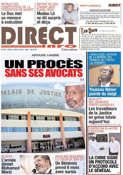 A la Une du Journal Direct Info du jeudi 04 juillet 2013