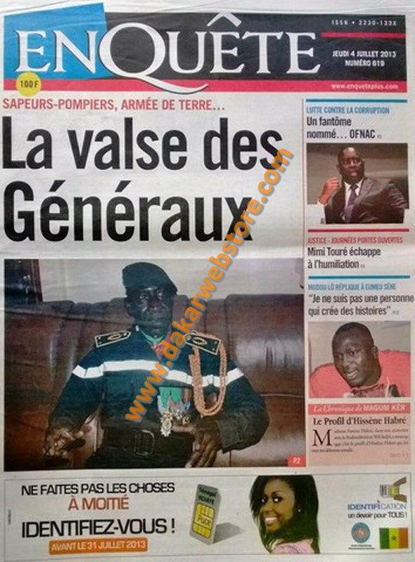 A la Une du Journal EnQuête du jeudi 04 juillet 2013