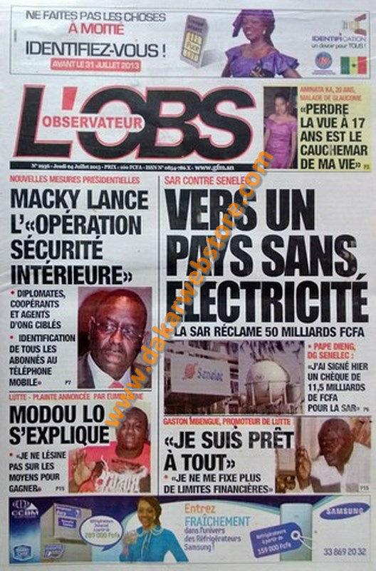 A la Une du Journal L'Observateur du jeudi 04 juillet 2013
