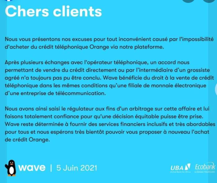 Achat de crédit téléphonique: Wave saisit le régulateur pour un arbitrage