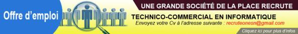 Une Grande Société de la Place recrute:     TECHNICO-COMMERCIAL EN INFORMATIQUE