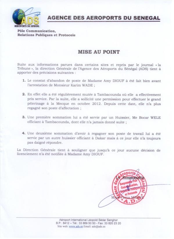 Cas Amy Diouf, amie de Karim Wade: L'Ads dément son licenciement et précise [Document]
