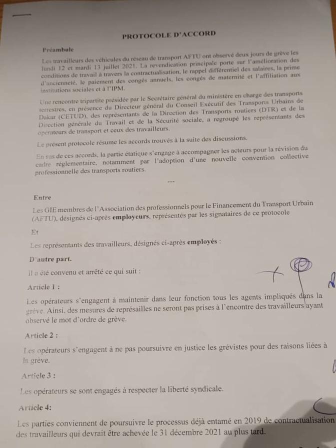 Grève des travailleurs d'Aftu: Un protocole d'accord signé