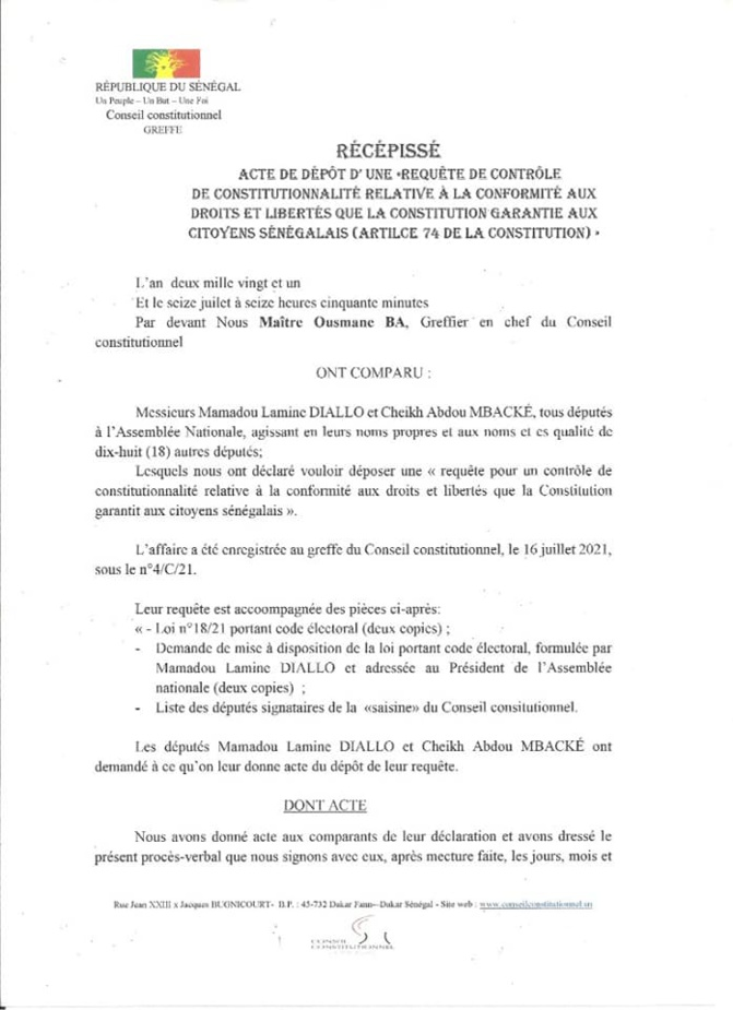 Modification du code électoral: Mamadou Lamine Diallo et Cheikh Abdou Mbacké déposent un recours devant le Conseil constitutionnel