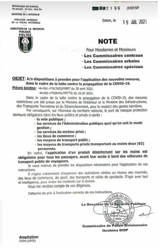 Covid-19: Après l'Armée, la police sur le terrain pour faire respecter les mesures-barrières (Document)