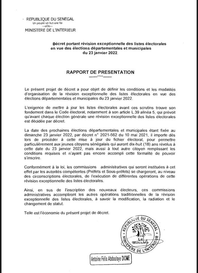 Décret/ Révision exceptionnelle des listes électorales: Macky retient la date du 31 juillet au 14 septembre 2021
