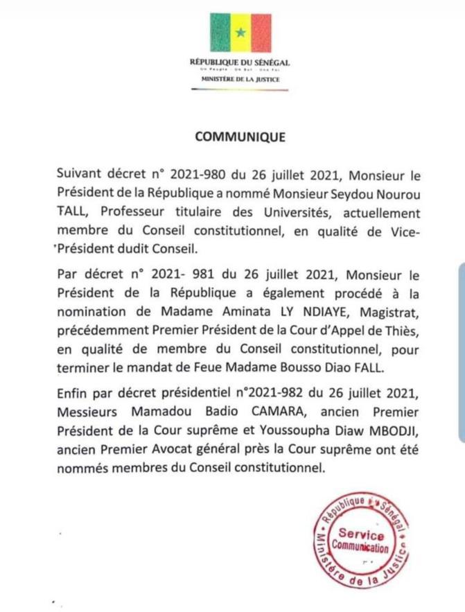 Le Conseil constitutionnel est désormais au complet: Macky Sall a nommé les 3 sages