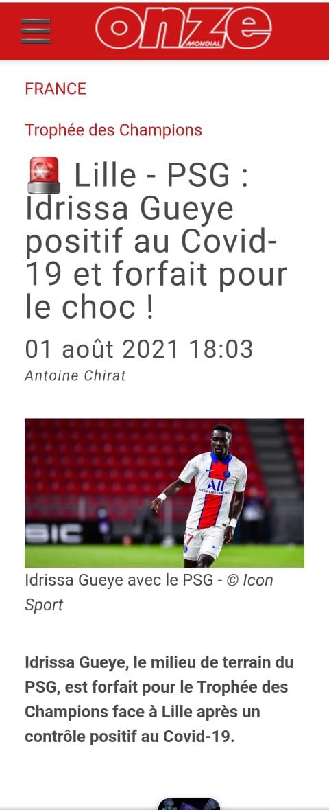 Trophée des Champions: Idrissa Gana Guèye positif à la Covid-19