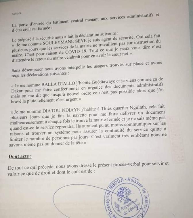 Fermeture services de l'état civil de Thiès: Pastef engage la bataille politique et judiciaire