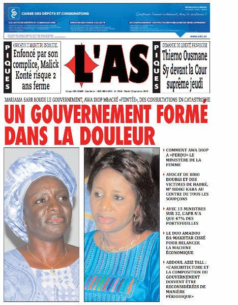 A la Une du Journal L'As du mardi 03 Septembre 2013