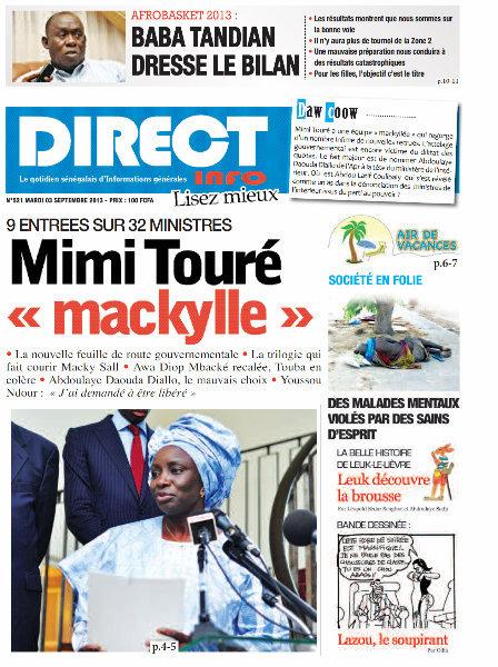 A la Une du Journal Direct Info du mardi 03 Septembre 2013