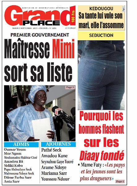 A la Une du Journal Grand Place du mardi 03 Septembre 2013