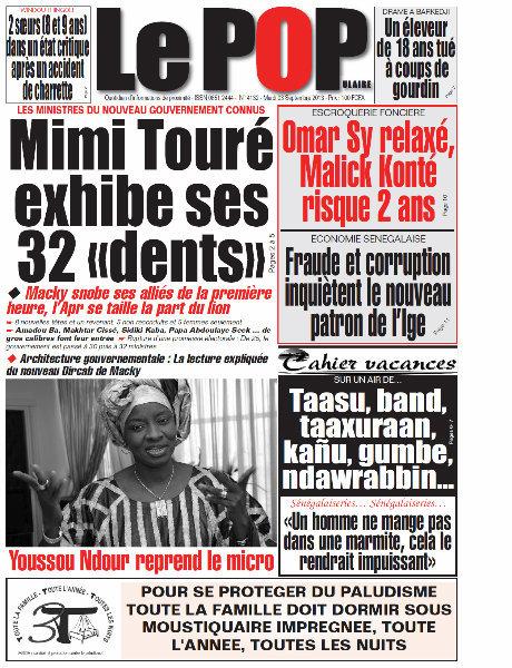 A la Une du Journal Le Populaire du mardi 03 Septembre 2013