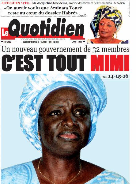 A la Une du Journal Le Quotiden du mardi 03 Septembre 2013