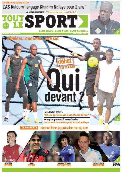 A la Une du Journal Tout Le Sport du mardi 03 Septembre 2013