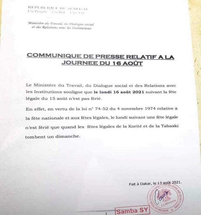 Décision du Ministère du Travail : « Au boulot !  Le 16 août n'est pas férié ! »