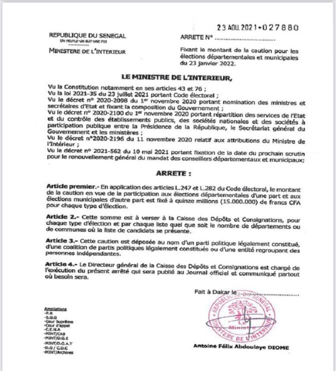 Elections départementales et municipales: La caution fixée à 15 millions FCfa