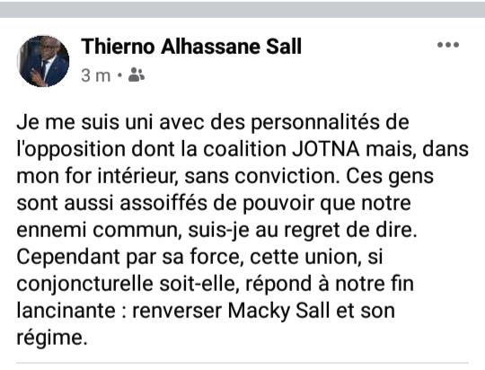 Le post détonant de Thierno Alassane Sall à l'endroit du trio KKS: Comme du je t'aime moi non plus