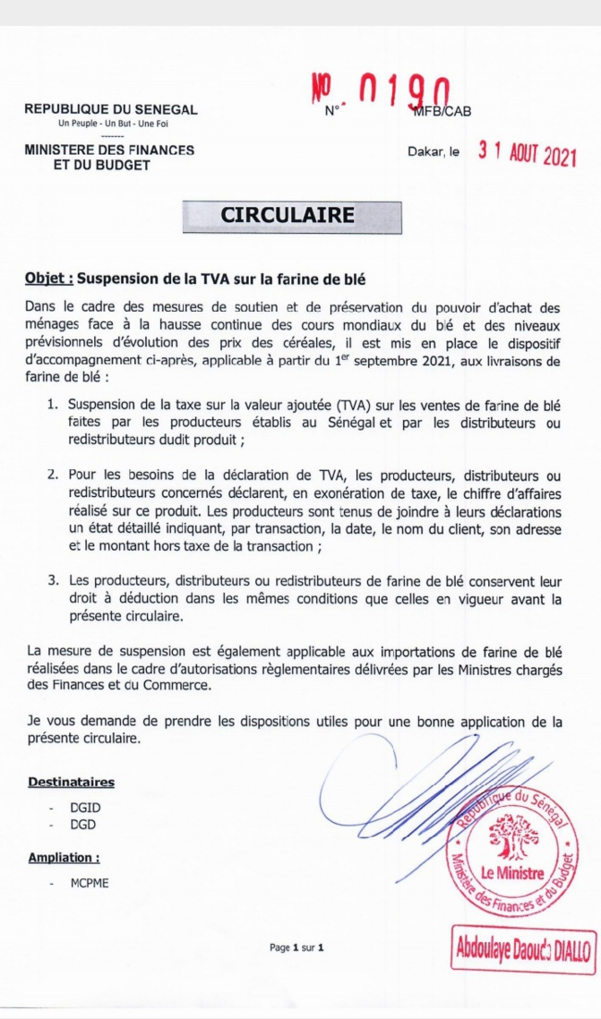 Suspension de la TVA sur la farine de blé (ministère des Finances)