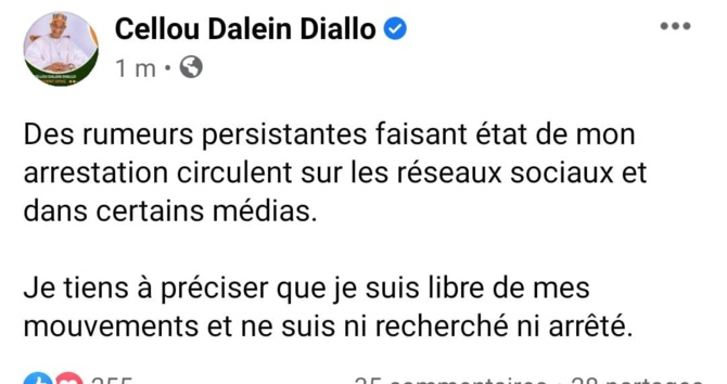 Guinée: Cellou Dalein Diallo dément son arrestation et se dit libre de ses mouvements