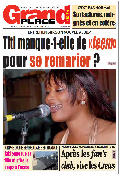 A la Une du Journal Grand Place du lundi 02 Décembre 2013