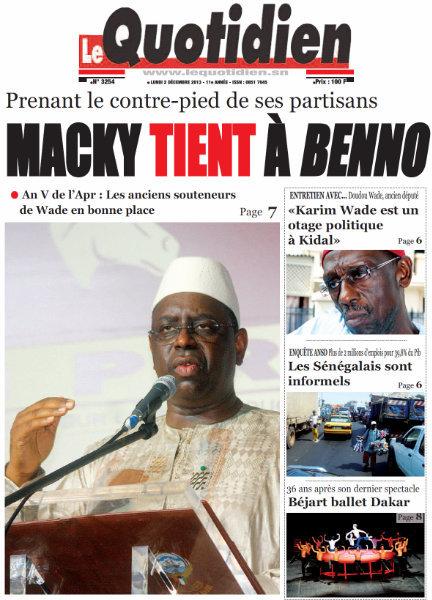 A la Une du Journal Le Quotidien du lundi 02 Décembre 2013