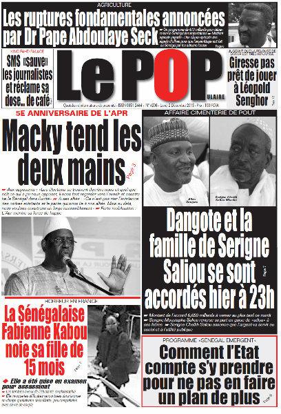 A la Une du Journal Le Populaire du lundi 02 Décembre 2013