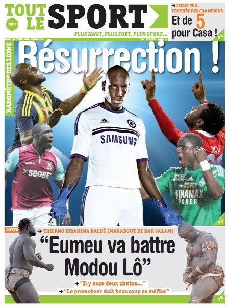 A la Une du Journal Tout Le Sport du lundi 02 Décembre 2013