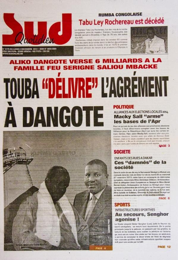 A la Une du Journal Sud Quotidien du lundi 02 Décembre 2013