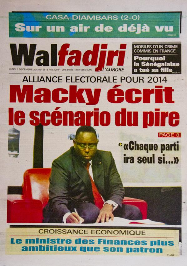 A la Une du Journal Walfadjri du lundi 02 Décembre 2013