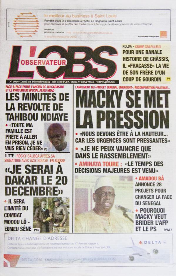 A la Une du Journal L'Observateur du lundi 02 Décembre 2013