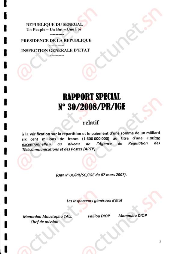 TELECOMS : Voici les dessous de l'affaire des 1 milliards 600 millions de primes spéciales de l'ARTP (Rapport IGE) Première partie