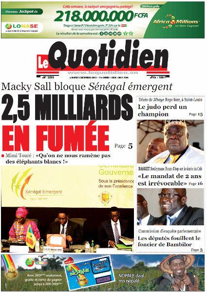 A la Une du Journal Le Quotidien du mardi 03 Décembre 2013
