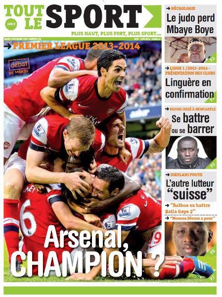 A la Une du Journal Tout Le Sport du mardi 03 Décembre 2013