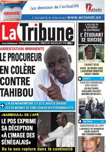 A la Une du Journal La Tribune du mardi 03 Décembre 2013