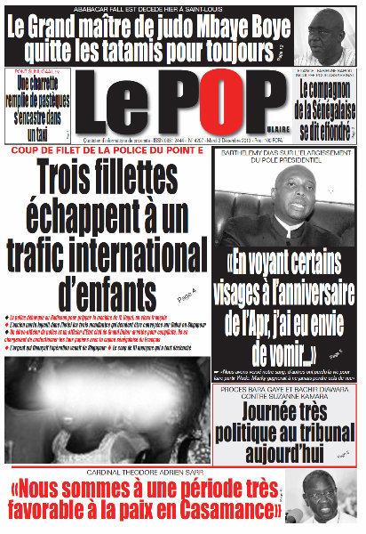 A la Une du Journal Le Populaire du mardi 03 Décembre 2013