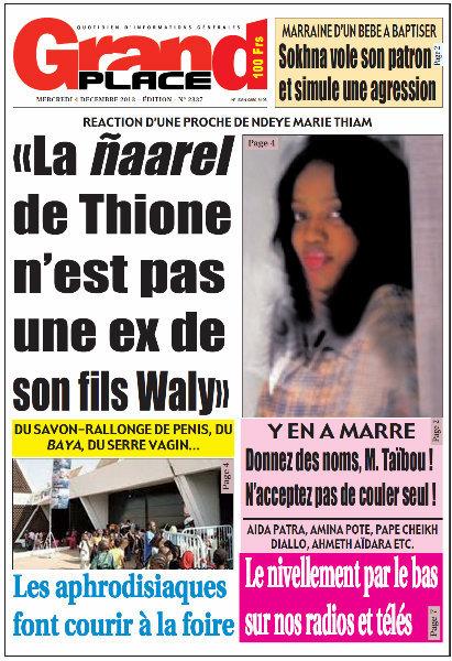 A la Une du Journal Grand Place du mercredi 04 Décembre 2013