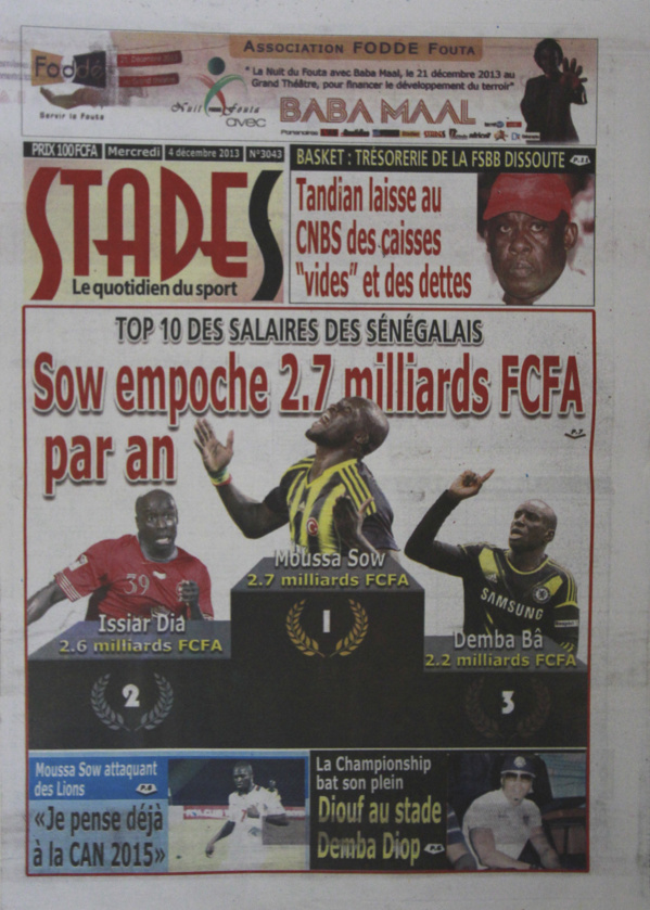 A la Une du Journal Stades du mercredi 04 Décembre 2013